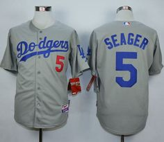 Men's Los Angeles Dodgers #5 Corey Seager Grey Cool Base Jersey