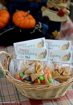Creative Thanksgiving Recipes.  A neat idea for favors placed in a basket for all to take home.