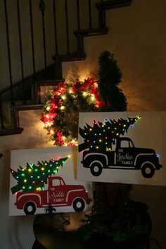 Outdoor christmas decorations diy red truck christmas tree huge 16x20 personalized christmas canvas it lights up aloadofball Image collections