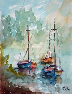 Boats On Lake Art Print by Faruk Koksal - Malerei Watercolor Artists, Watercolor Techniques, Watercolor Landscape, Watercolour Painting, Painting & Drawing, Watercolors, Lake Painting, Sailboat Painting, Sailboat Art
