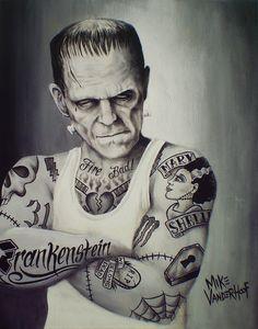 Tattooed Frankenstein By Mike Vanderhoof Painting
