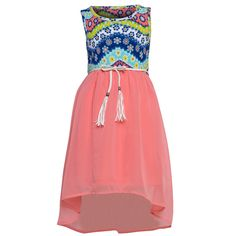 Update her wardrobe with a trendy dress from RMLA, perfect for spring/summer season. Sleeveless dress features a floral printed bodice and a thin belt with tassels leading to a airy lightweight neon pink hi-lo lined skirt.