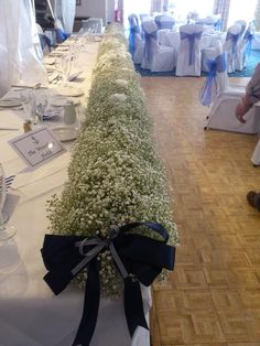 An example of a compact Gypsophila top table design. Yours will be smaller in length.Ideas for gorg Gypsophila Wedding, Diy Wedding Flowers, Bridal Flowers, Wedding Table Decorations, Wedding Centerpieces, Wedding Themes, Centrepieces, Centerpiece Ideas, Wedding Top Table