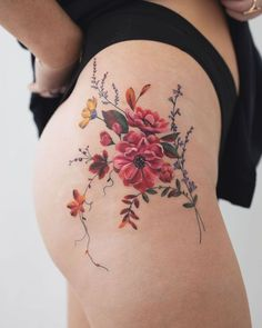 Rey Jasper Andres flower Tattoo - Rey Jasper Andres flower Tattoo You are in the right place about Rey Jasper Andres flower Tattoo Tat - Flower Hip Tattoos, Hip Thigh Tattoos, Delicate Flower Tattoo, Floral Thigh Tattoos, Hip Tattoos Women, Colorful Flower Tattoo, Pretty Flower Tattoos, Cover Up Tattoos, Mini Tattoos