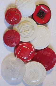 Vintage red and white glass buttons