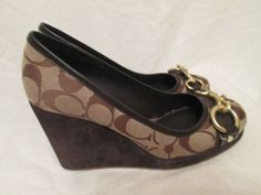 For Sale Now at Our Ebay Store for Only $79.99!  Coach Issy Wedge Platform Signature Print Khaki Sz6 EC Gold Buckle Toe Designer
