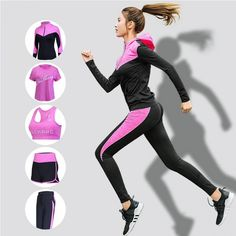 Five Piece Gym Sportswear for Women Sports Fitness Clothing Tracksuit for Women Workout Running Suit, Running Tights, Women's Sports Bras, Sports Bra Sizing, Jogging, Gym Tracksuit, Yoga Legging, Sports Crop Tops, Stylish Jackets
