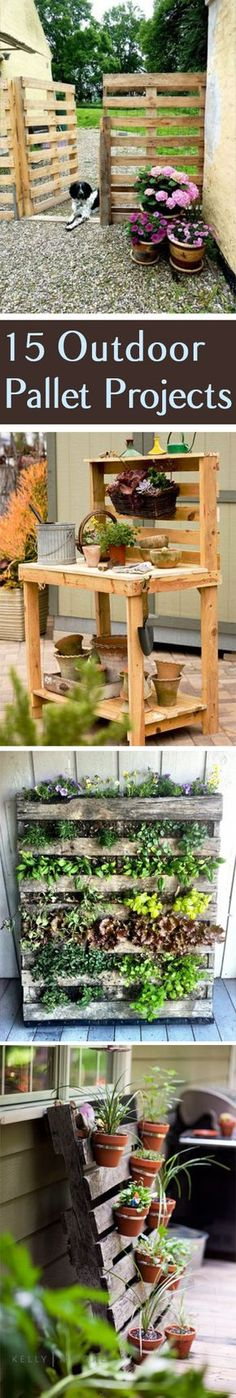 One of the best outdoor projects to do with a pallet is to make a garden path. Just take the slats and use them as steps in the path! If you don't have one already, then use pallets to make a potting bench. This allows you to organize and easily access all of your... #garden #ideas #outdoor