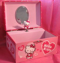 Kids Jewelry Box, Large Jewelry Box, Musical Jewelry Box, White Jewelry Box, Wooden Jewelry Boxes, Hello Kitty Toys, Pink Hello Kitty, Hello Kitty Bedroom, Hello Kitty Jewelry