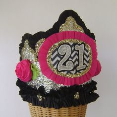 21st Birthday Party Crown  customize with any number by glamhatter, $24.00