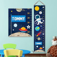 Solar System Growth Chart - Outer Space Wall Art, Astronaut Decal, Outer Space Nursery, Outer Space Decal, Astronaut Wall Art by JoliePrints on Etsy Solar System For Kids, Solar System Art, Growth Chart For Girls, Growth Charts, Outer Space Nursery, Personalized Growth Chart, Little Girl Names, Charts For Kids, Personalised Canvas
