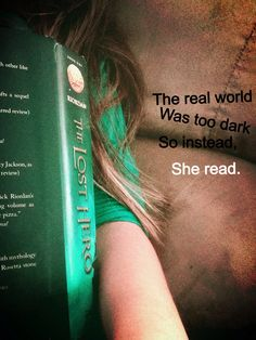 This is my new favorite picture cuz it is so me. Because of the green shirt, brown hair, the quote, and my favorite book
