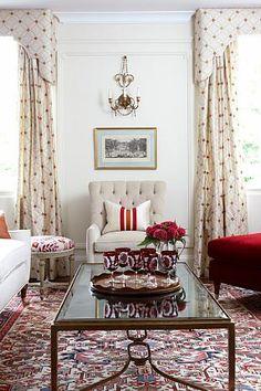 Sarah Richardson Design - London Flat (Living Room) PMs - Kate Stuart and Tommy Smythe Living Room Red, Living Room Decor, Living Spaces, Sarah Richardson, Red Curtains, Living Room Flooring, Interiores Design, Decoration, Family Room