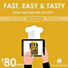In this festive season of Navratri, Alatiffy.com brings you soul savouring Onion and Garlic free veg Thali only at Rs 80. Call us at 8010787878 to order now. #Lunch #Navratri #Special #Homemade #HomeFood #HealthyFood #TastyFood #Alatiffy