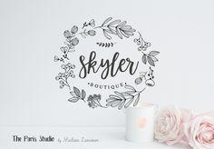 Hand Drawn Style Floral Boutique Logo Design - boutique logo, website logo, blog logo, creative business branding or small business logo.