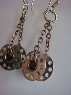 Silver Bobbin Earrings FREE SHIPPING by IbbyAndRufus on Etsy