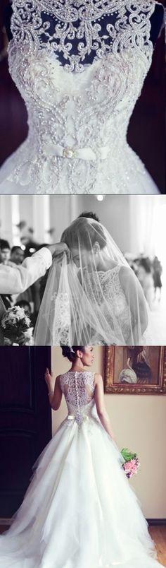 Lace Wedding Dresses A-line Wedding Dress Scoop Sweep/Brush Train Beading Wedding Dress Beautiful Bridal Gown #annapromdress #weddingdress #wedding #bridalgown #BridalGowns #cheapweddingdress #fashion #style #dance #bridal