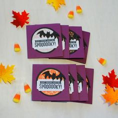 Halloween Party Favors / Halloween Gift Tags / Spooky Halloween Cards Set of 8 by HotWheelsandGlueGuns
