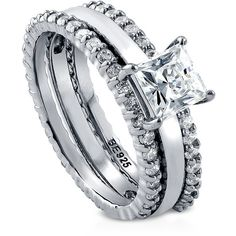BERRICLE Sterling Silver Princess CZ Solitaire Engagement Stackable... ($140) ❤ liked on Polyvore featuring jewelry, rings, 3 piece ring set, clear, women's accessories, sterling silver engagement rings, cubic zirconia engagement rings, wedding band rings, sterling silver stackable rings and cz engagement rings