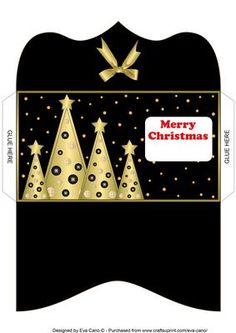 Buttons Christmas Trees Money Wallet black on Craftsuprint - Add To Basket!