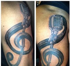 Hubby's new tattoo! #music #tattoo #mic