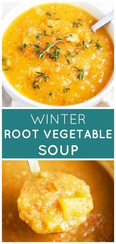 This Winter Root Vegetable Soup recipe is healthy and easy to make! It's prepared with root vegetables like carrots, parsnips, and rutabaga that are simmered in a savory broth in a Dutch oven on the stove top. The soup is pureed or can be left chunky and can be served with lots of toppings. It's vegan and gluten free. The perfect comforting one pot meal for the colder months! #soup #vegetable #healthy #vegan #recipe #glutenfree