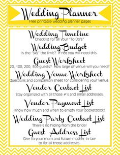 Printable Wedding Planner Lists. Keep you and your wedding planning in order with these FREE printable lists!   Blog & Be Married