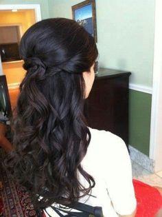 long curly half up wedding hair hair Half Up Wedding Hair, Wedding Hair And Makeup, Hair Makeup, Wedding Updo, Wedding Nails, Indian Wedding Hair, Bridal Hair Half Up With Veil, Bridal Hairdo, Wedding Beauty