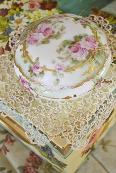 porcelain box on a tatted doily♥