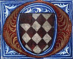 Armes de Maurice de Bouchedusure (détail f°48v) -- «Martyrologe-obituaire du prieuré de La Haye-aux-Bonshommes», Anjou (France), 1475-1499 [BM d'Angers, Ms. 855] -- losangé d'argent et de gueules, au franc-canton de gueules.