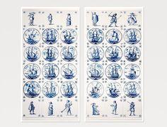 Set van 2 Nederlandse tegels prenten, keuken decor, blauwe schepen tegels kunst fotografie, panoramische kunst verticale prenten, set van twee 8 x 16, 10 x 20, 12 x 24