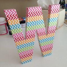 washi tape and sparkle mod podge letter