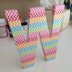 washi tape and sparkle mod podge letter