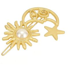 Yoins Moon Star Sun Hair Clip in Gold with Pearl ($4.05) ❤ liked on Polyvore featuring accessories, hair accessories, yoins, gold, star hair clip, hair clip accessories, star hair accessories, pearl barrette hair clip and pearl hair clip