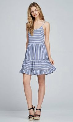 b43958882fb4 Woven open shoulder A line dress with triple tiered skirt with open back  adjustable crossover spaghetti