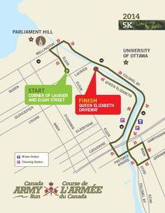 Le parcours de la course de 5k de l'armée canadienne 2014. #armyrun