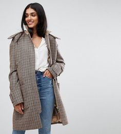 ASOS Tall Hooded Check Coat with Rib Funnel Neck - Multi