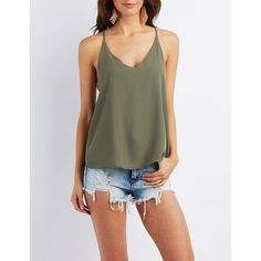 Charlotte Russe Strappy V-Neck Tank Top ($19) ❤ liked on Polyvore featuring olive and charlotte russe