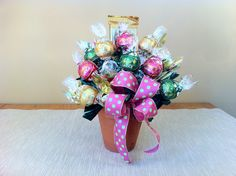 Small Clay Pot with Ribbon - Pink - Premium Chocolate Candy Bouquet. $10.95, via Etsy.