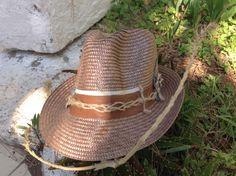 Summer hat crea Copper on brown leather strap with marine knit gamzegedesignstudio.com