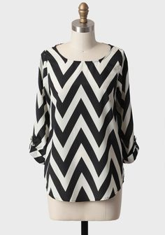 Matinee Chevron Blouse In Black | Modern Vintage New Arrivals