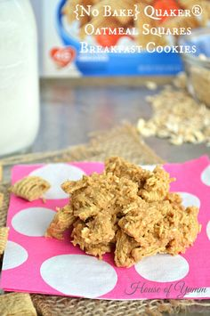 These {No Bake} Quaker ® Oatmeal Squares Breakfast Cookies are the perfect way to start your day, or to snack on whenever the mood strikes!  #QuakerUp #LoveMyCereal #Spon