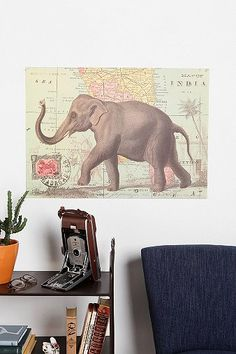 Elephant Map Poster #UrbanOutfitters #smallspace