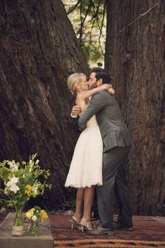 Offbeat Vintage Wedding.  i love the rug idea under the couple for an outdoor wedding