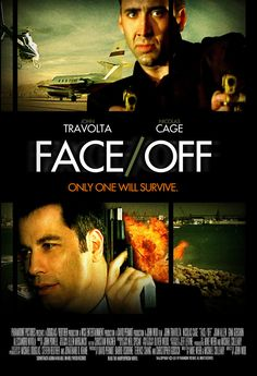 Face/Off Movie Poster awesome movie with john travolta and nicholas cage.i found john travolta played this part great and was surprised. Second John Woo film with Travolta as the bad guy after Broken Arrow a year before. Face Off, Nicolas Cage, John Travolta, Scary Movies, Great Movies, Cinema Posters, Movie Posters, John Woo, Capas Dvd