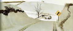 """Andrew Wyeth, Ring Road, 1985 """"I prefer winter and fall, when you feel the bone structure of the landscape. Something waits beneath it; the whole story doesn't show. """" -Andrew Wyeth"""