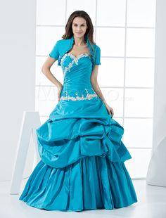 Dulce princesa de longitud de palabra de tafetán azul Prom vestido - Milanoo.com