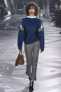 Louis Vuitton | Fall 2016 Ready-to-Wear | 15 Blue long sleeve sweater and grey cropped trousers