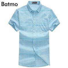 Batmo 2017 new arrival high quality 100% cotton Fashion casual bussiness plaid shirt men size M.L.XL.XXL.XXXL  T939 #Affiliate
