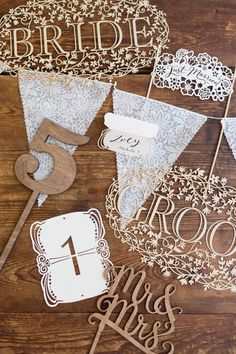Lace-inspired laser cut wedding decor / via: Poppytalk